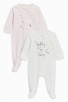 Mummy And Daddy Sleepsuits Two Pack (0mths-2yrs)
