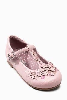 Туфли с Т-образными ремешками и цветочной отделкой (Младшего возраста)