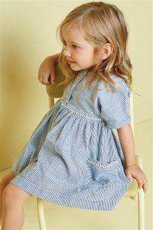 Stripe Dress With Metallic Rope Detail (3mths-6yrs)