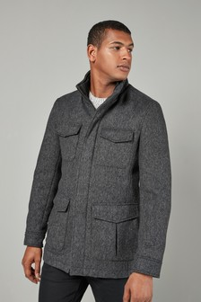 Four Pocket Funnel Neck Coat