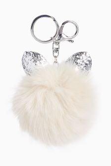 Glitter Cat Ears Pom Keyring