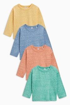 织纹长袖T恤四件装 (3个月-6岁)