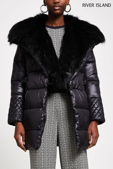 River Island Black Faux Fur Front Padded Trench Coat