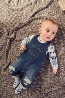 Stretch Jersey Denim Racoon Dungarees, Bodysuit And Bib Set (0mths-2yrs)
