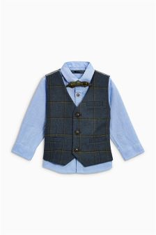 Check Waistcoat, Shirt And Bow Tie Set (3mths-5yrs)