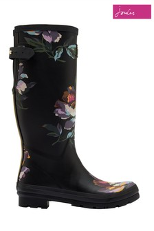Joules Black Print Wellies With Adjustable Back Gusset