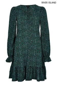 River Island Blue Frill Hem Ditsy Mini Dress