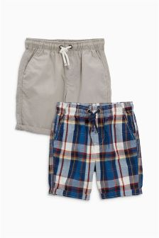 Check And Plain Shorts Two Pack (3-16yrs)