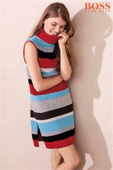 BOSS Red Multi Stripe Dress