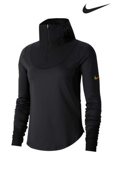 Nike Glam Black Long Sleeved Mid Layer Running Top