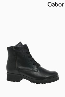 Gabor Zane Black Leather Fashion Ankle Boots