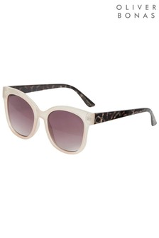 Oliver Bonas White Square Cream and Tortoiseshell Arm Sunglasses