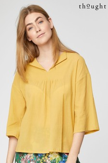Thought Yellow Georgette Top