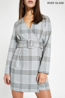 River Island Grey Checked Tie Waist Blazer Dress