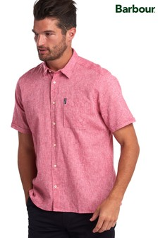 Barbour® Red Linen Mix Short Sleeve Summer Shirt