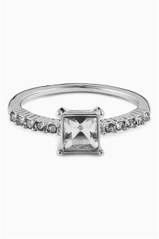 Square Cut Solitaire Ring