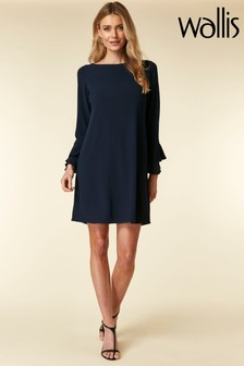 Wallis Blue Ink Double Flute Sleeve Shift Dress