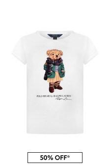 Girls White Jersey Bear T-Shirt