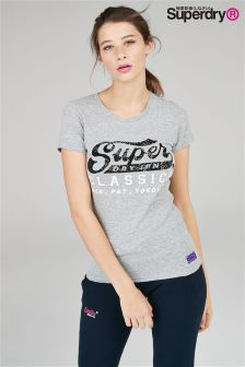 Superdry Grey Sequin Script Tee