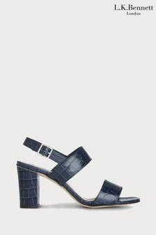 נעלי עקב בצבע כחול עם עקב בלוק דגם Rhiannon של L.K.Bennett