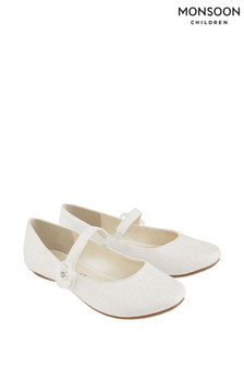 Monsoon Cream Tiana Shimmer Lace Corsage Ballerina Shoes