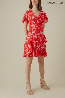 Karen Millen Red Oriental Palm Print Collection Dress