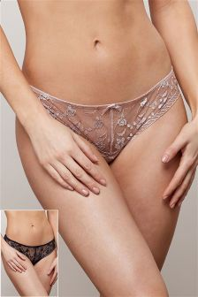 Embroidered Brazilian Briefs Two Pack