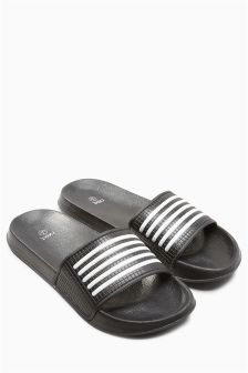Mens Next Stripe Pool Slider - Grey Next sXwmlfM