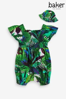Baker by Ted Baker Tropical Print Romper And Hat