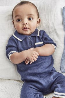 Knit Polo Romper (0mths-2yrs)