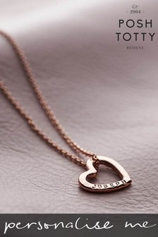 Personalised Mini Love Heart 18ct Rose Gold Plate Necklace by Posh Totty Designs