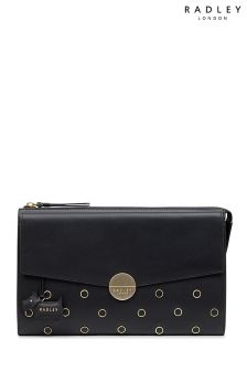 Radley Black Broad Street  Leather Stud Large Ziptop Clutch