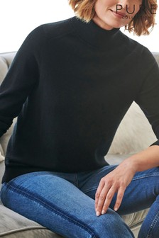 Pure Collection Black Cashmere Polo Neck Sweater
