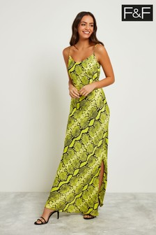 F&F Lime Neon Snake Maxi Dress