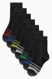Stripe Footbed Socks Seven Pack (Older)