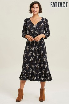 FatFace Black Gracie Floating Floral Midi Dress