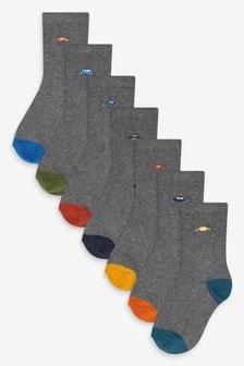 7 Pack Cotton Rich Car Motif Socks