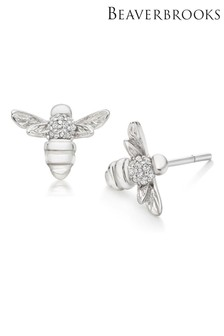 Beaverbrooks Silver Cubic Zirconia Bee Stud Earrings