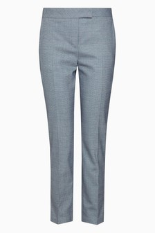 Windowpane Check Slim Trousers