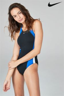 Nike Black And Blue Fast Back One Piece