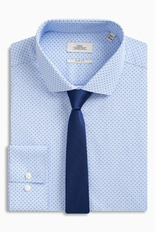 Print Slim Fit Shirt With Tie Set