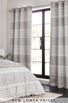 Geo Stripe Blackout Eyelet Curtains