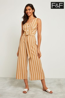 F&F White Stripe Jumpsuit
