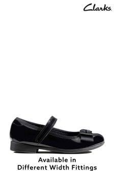 Clarks Black Pat Scala Tap K Shoes