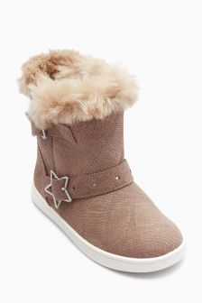 Star Buckle Pull-On Boots (Younger)