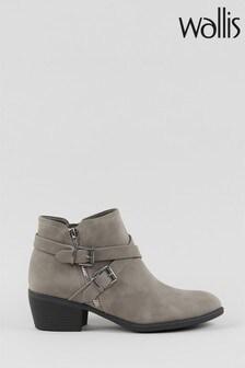 Wallis Avenger Grey Double Buckle Boots