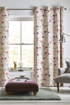 Pressed Watercolour Floral Eyelet Curtains