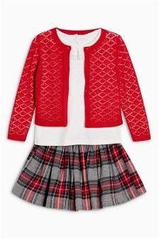 Cardigan And Skirt Three Piece Set (3mths-6yrs)
