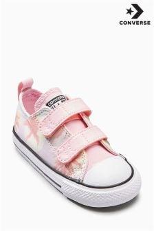 Converse Pink/Cream Palm Print Velcro