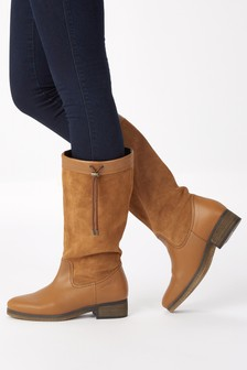 Leather Water Resistant Long Boots